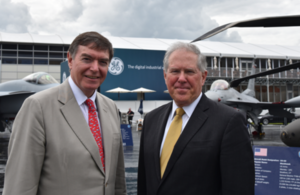 UK Defence Minister Philip Dunne and US Under Secretary of Defense Frank Kendall at Farnborough International Air Show