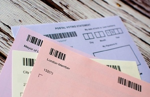 fan of postal vote polling cards