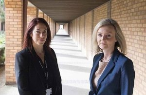 Clare Pearson, Governing Governor of HMP Belmarsh and Elizabeth Truss outside Belmarsh