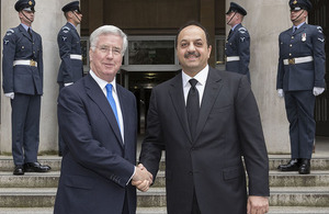 Defence Secretary Michael Fallon with Qatar's Minister for Defence Affairs His Excellency Dr Khalid Bin Mohammed Al Attiyah. Crown Copyright.