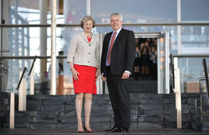 PM Theresa May with the First Minister at the Welsh Assembly.