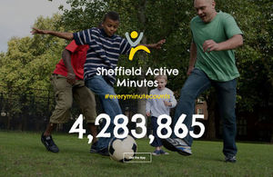 People playing football, advertising the Sheffield Active Minutes app