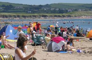 People on a sunny beach.