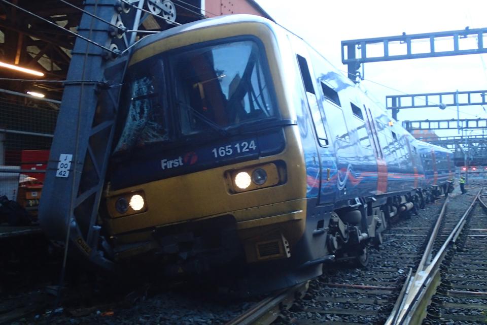 Image of damaged train at Paddington