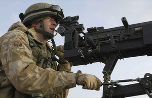 RAF Regiment gunner provides top cover
