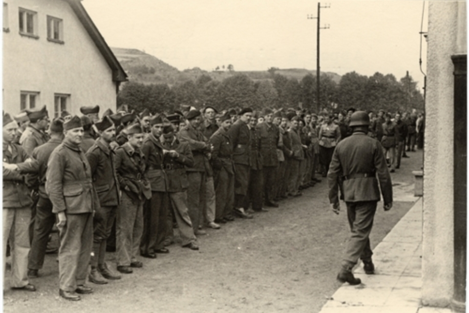PoWs gathering for roll calls at Oflag VIIIF, Copyright IRIC, all rights reserved