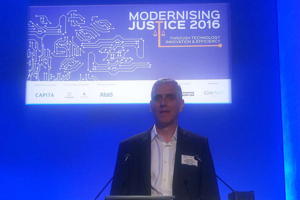 Kevin Gallagher speaking at the Modernising Justice conference in London
