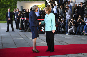 Prime Minister Theresa May meeting Chancellor Merkel of Germany.