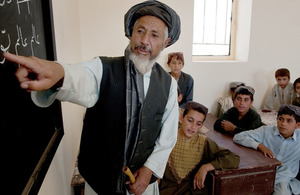 Afghan youngsters attend a lesson