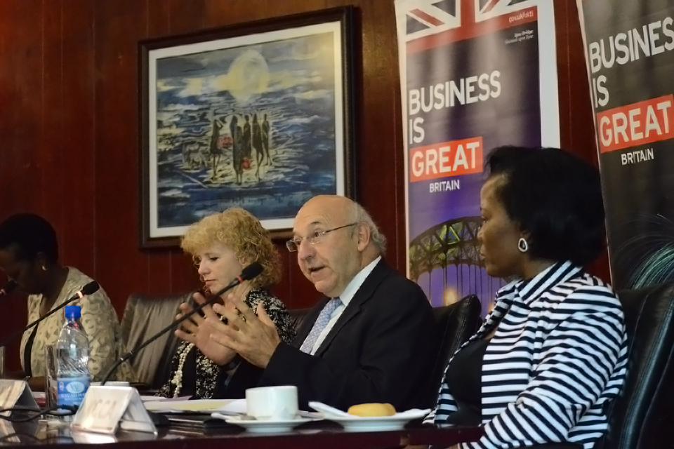 Sir Michael Bear with HE Alison Blackburne (second left), UNRA ED Mrs Allen Kagina (left) and KCCA ED Mrs Jennifer Musisi