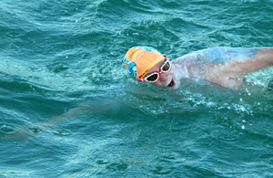 Richard during his epic swim