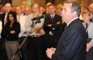 Defence Secretary Dr Liam Fox addresses audience