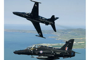 Two RAF Hawk T2 aircraft