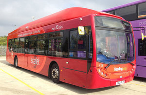 Reading low emission bus.