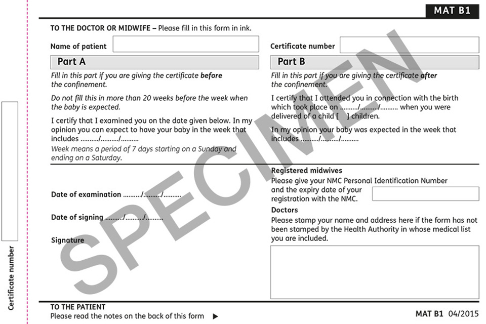 Maternity Certificate Form Mat B1 Guidance On Completion Gov