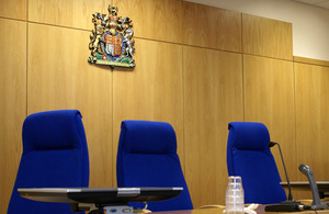 Judge's bench in a crown court
