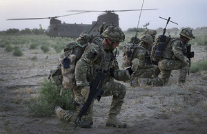 Members of the 3 Commando Brigade Reconnaissance Force taking part in the daylight helicopter assault in Helmand province