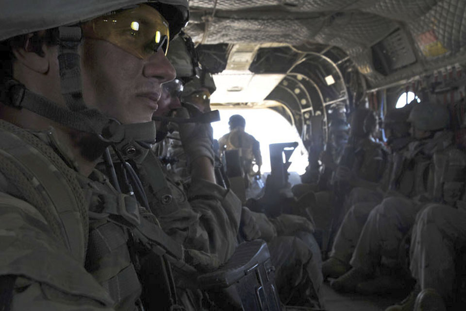 Members of 3 Commando Brigade Reconnaissance Force inside one of the Chinook helicopters used in the assault in Helmand province
