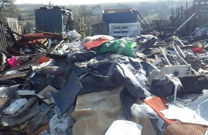 Image shows the illegal waste site at Murton