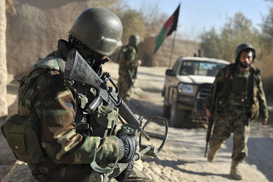 Afghan National Army soldiers on patrol in the Nad 'Ali district during Operation ZAMESTANI PEEROZI, or 'WINTER SUCCESS'