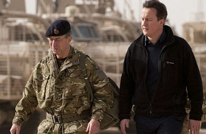 Prime Minister David Cameron and Chief of the Defence Staff, General Sir David Richards, during a visit to Helmand province, southern Afghanistan in December 2010 (stock image)