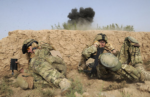 Explosives and bomb components being destroyed by members of the Counter-IED Task Force on Day 2 of Op TOR SHEZADA