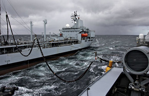 HMS Daring demonstrates a Replenishment at Sea with Royal Fleet Auxiliary tanker Orangeleaf