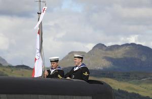 The commissioning pennant is raised on HMS Astute