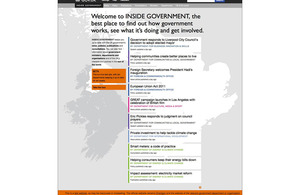 INSIDE GOVERNMENT home page on GOV.UK