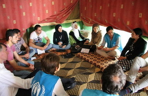 Secretary of State visiting refugees at an Informal Tented Settlement in Bekaa