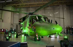 A Lynx Mk9A helicopter at AgustaWestland's Yeovil plant in Somerset