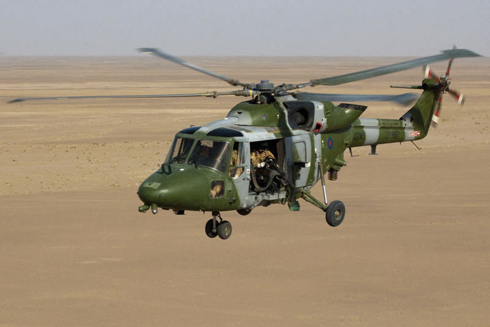 A Lynx Mk9A helicopter flying over Afghanistan