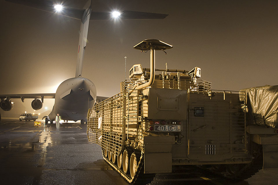 An upgraded Warrior infantry fighting vehicle ready to be loaded onto an RAF C-17 Globemaster at RAF Brize Norton for onward transit to Afghanistan