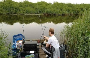 Jason Neil enjoys fishing from accessible platform at Worlingham