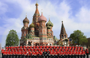No 2 Company of 1st Battalion Welsh Guards outside St Basil's Cathedral in Moscow's Red Square