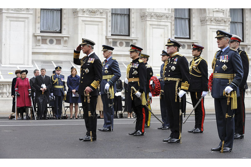 His Royal Highness The Prince of Wales with Defence Chiefs during a service in London to mark the 65th anniversary of Victory in Europe