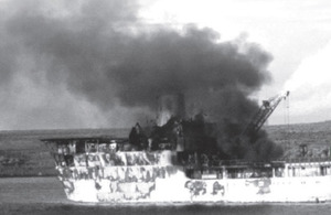48 soldiers and seamen were killed onboard RFA Sir Galahad when she was attacked on 8 June 1982