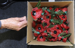 Silk poppies made and boxed at the Poppy Factory in Richmond-upon-Thames