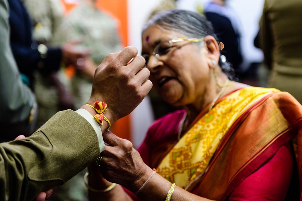 Tying a Rakhi