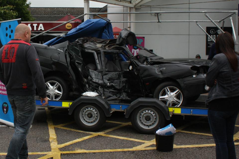 Think! crashed car