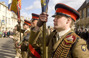 Soldiers of 2nd Battalion The Royal Anglian Regiment on parade in Stamford, Lincolnshire, in March 2009, on returning from Iraq