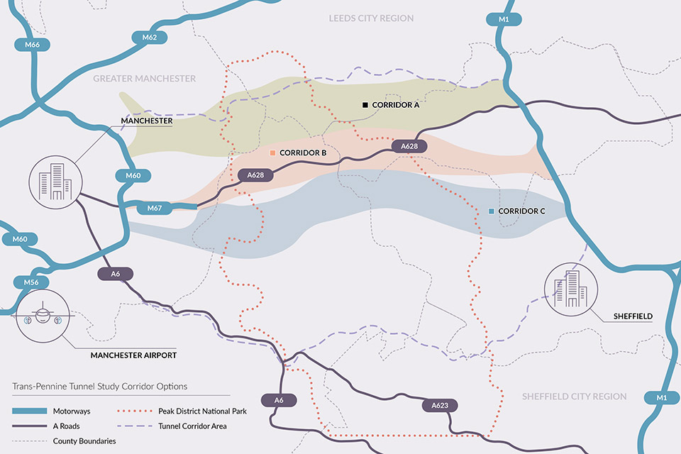 Map of trans Pennine tunnel options