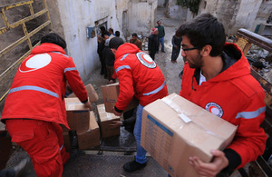 Red Cross workers delivering humanitarian aid inside Syria. Picture: IFRC/Ibrahim Malla