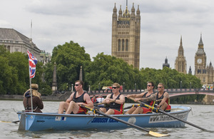 Rowers in boat on the Thames