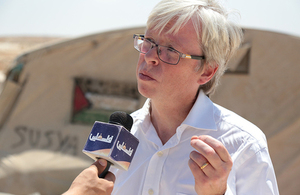 Deputy British Consul General James Downer in Susiya village.