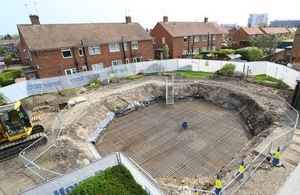 Works being undertaken to secure a mine shaft in Gosforth, Newcastle upon Tyne
