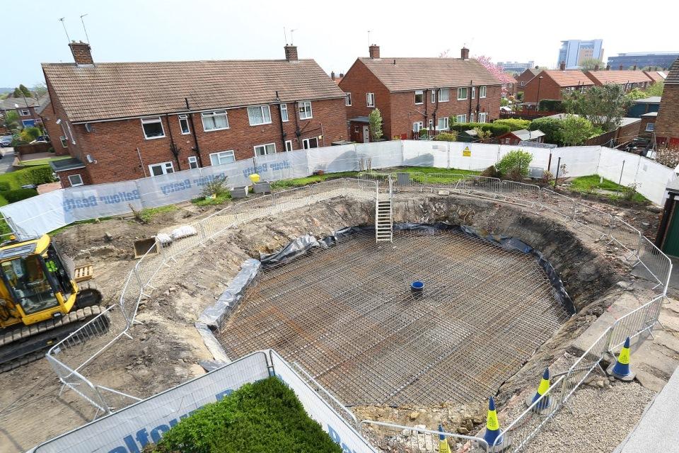 Construction of the hexagonal, steel reinforced concrete slab