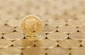 Photograph of a stack of pound coins