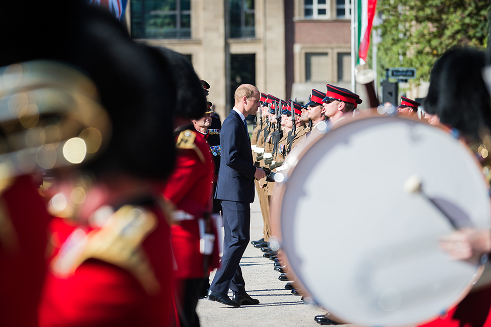 Duke of Cambridge inspects the 20th Armoured Infantry Brigade