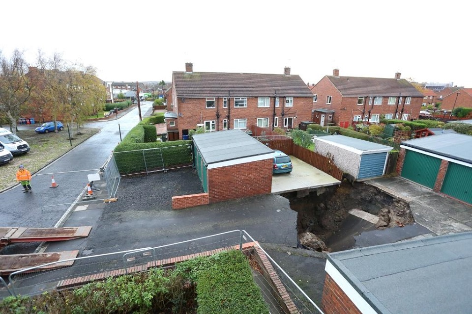 Ground collapse near homes and garages in Gosforth, Newcastle upon Tyne